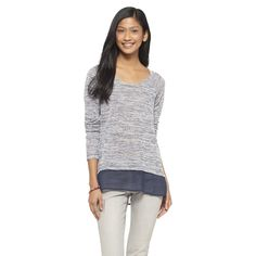 Long Sleeve Chiffon Trim Shirt - Mossimo Supply Co.