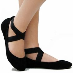 Black Mary Jane Ankle Strap Ballet Flats for dance class or dancing outside shows