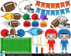 DIGITAL CLIPART - American football The clipart images in this set may be used for both Personal and Commercial Use. INCLUDED IN THIS SET - 39 images in PNG format (each clipart saved separately as a PNG file)- 1 file in EPS formatPNG:-The PNG images are about 12x15 [in] or 30x38 [cm]-The PNG images are high resolution, about 3000x4000 pixels with transparent background.EPS:-The EPS file is for editing the cliparts.-In the EPS file you will found all the digital clipart images on different…