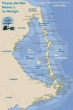 Mapa playas de murcia Mexico Travel, Travel Europe, Spanish House, Spain And Portugal, Mediterranean Sea, Alicante, Cabo, Valencia, Matka