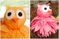 DIY Tissue paper owls- cute for halloween/ wish I would've known about these for Chi O!