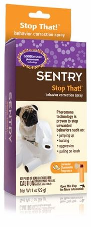 Pet owners who are frustrated by their dogs barking, acting aggressively, jumping around, or doing damage around the house have a new solution with SENTRY Stop That! Noise and Pheromone Spray for Dogs ($7.99). This spray can effectively interrupt an undesirable behavior, and it can even teach dogs to give up the behavior.