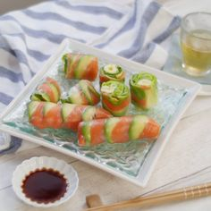 Spring Rolls, Japanese Food, Fresh Rolls, Sushi, Watermelon, Food And Drink, Appetizers, Keto, Cooking Recipes