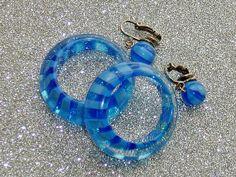 Vintage Mod Lucite Earrings Azure Blue Striped Hoops by glamourama, $5.95
