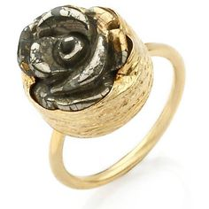Golden Rose Ring with a carved Pyrite Stone ($58) ❤ liked on Polyvore featuring jewelry, rings, golden ring, bubble ring, pyrite ring, rose ring and golden rose ring