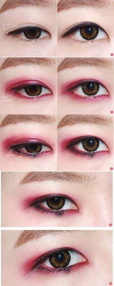 substitute red/pink with neutral colors. blend to make look more smokey.