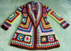 Crochet Granny Square Jacket T Crochet Bolero, Gilet Crochet, Crochet Coat, Crochet Cardigan Pattern, Crochet Jacket, Crochet Yarn, Crochet Clothes, Crochet Patterns, Crochet Granny