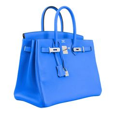 stop… HERMES BIRKIN BAG 35CM BLUE HYDRA 35CM OMGGGG INTENSE BLUE at... ❤ liked on Polyvore featuring bags, handbags, bolsos, hermes, hermes birkin, blue handbags, hermes purse, blue bag, hermès and hermes handbags