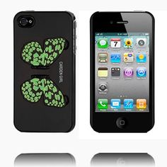 Butterfly Back (Sort) iPhone 4/4S Deksel