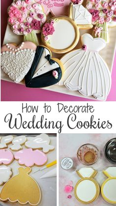 Watch Step-by-Step how to Decorate FIVE Wedding Cookies!You can find Wedding cookies and more on our website.Watch Step-by-Step how to Decorate FIVE Wedding Cookies! Iced Cookies, Royal Icing Cookies, Sugar Cookies, Cookies Et Biscuits, Wedding Dress Cookies, Wedding Shower Cookies, Wedding Favors, Decorated Wedding Cookies, Bridal Shower