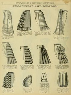 Bustle Undergarment Structure: different ways of attaching and making the bustle underneath the full skirts.