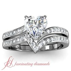 Heart Shaped and Round Diamonds 14K White Gold Wedding Ring Set in Channel Setting    Twisted Edge Set