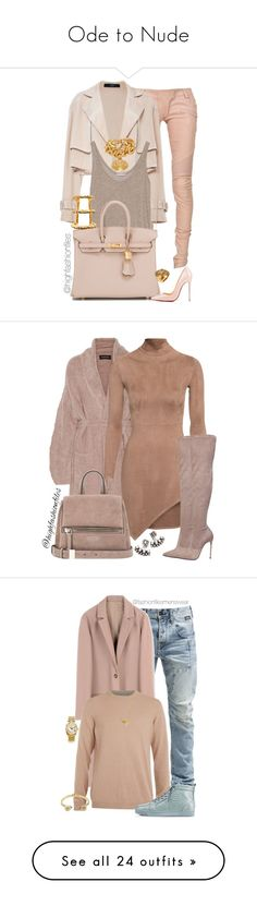 """""""Ode to Nude"""" by highfashionfiles ❤ liked on Polyvore featuring Balmain, Wes Gordon, Zara, Hermès, Christian Louboutin, Versace, Paula Mendoza, DANNIJO, By Malene Birger and Le Silla"""