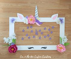 DIY Unicorn Birthday Party - Do you have someone in your house who loves unicorns? Check out this DIY unicorn birthday party I put together for my daughter's birthday party! - Cox & the Hen Custom Creations Diy Unicorn Birthday Party, Unicorn Birthday Parties, Birthday Party Decorations, 4th Birthday, Flower Birthday, Diy Party Frame, Diy Party Photo Booth, Happy Birthday Banner Printable, Unicorn Banner