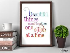 Gifts for Sewers Craft Room Decor Beautiful Things Sewing Room Wall Art Printable Quotes Gifts for Quilters DIGITAL Gift Sewing Art by FromTheRookery Retirement Gifts For Mom, Retirement Countdown, Retirement Ideas, Retirement Parties, Printable Quotes, Printable Wall Art, Sewing Room Storage, Watercolor Quote, Craft Room Decor