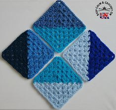 Crochet Granny Squares Design Half and Half Granny Square - free crochet pattern by Heather C Gibbs. Part 7 of the KCACO-UK Groovyghan CAL - Crochet Quilt, Crochet Blocks, Crochet Afghans, Crochet Blanket Patterns, Crochet Motif, Crochet Stitches, Knitting Patterns, Free Crochet, Granny Square Crochet Pattern