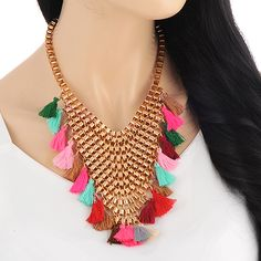 Multicolored Tassels Gold Colored Block Chain Necklace