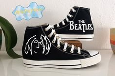 4a383f4dd071 The Beatles John Lennon Hand Painted Custom Converse Shoes. Converse  AyakkabıAirbrushTuhaf