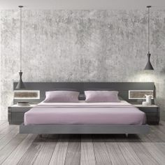 Largest Beds Collection With A Natural Grey Lacquer Finish Applied To A Natural Wood Veneer The Braga Grey Lacquer Natural Wood Bed With Led Lights