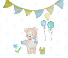 Hand painted Watercolor Teddy Bear Birthday Clip Art High Resolution Digital Graphic Cards Stationary Print Art Greeting Scrapbooking by PrettyDigiDesigns on Etsy