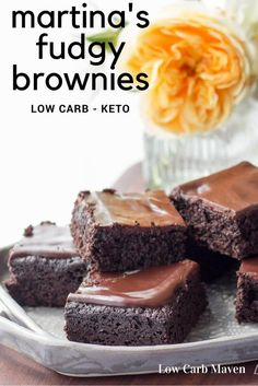 These keto brownies from Martina are fudgy and delicious. If you're looking for a low carb chocolate dessert recipe this sugar-free brownie may be it!