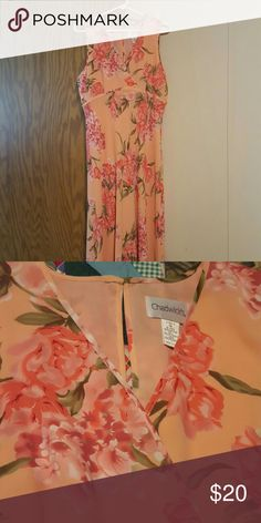 CHADWICK DRESS Beautiful dress almost floor length  Shell of dress is 100% polyester the lining 100% polyester multi color peach with flowers  only worn once , in great condition one button closure in back perfect for any occasion Chadwicks Dresses Maxi