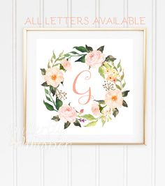 Monogram baby letter for wall printable, Nursery initials, Baby girl flower letter G, Watercolor nursery wall art, Wreath letter DOWNLOAD by ButterflyWhisper on Etsy https://www.etsy.com/listing/264780740/monogram-baby-letter-for-wall-printable