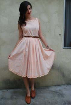 Vintage Peach Tree Tee Length Scalloped Eyelet Tea Party Circle Skirt Floral Embroidery Cotton Dress (size small, medium). $64.00, via Etsy.