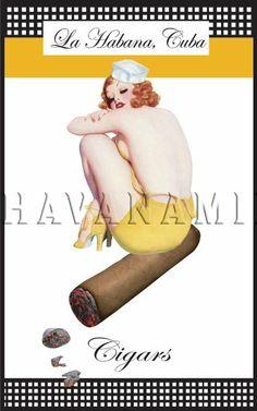 Cuban Cigar Sailor Pinup Girl Poster Print Havana Cuba Tobacco Art Photo 15x24   pinupartsource   vintage pinup