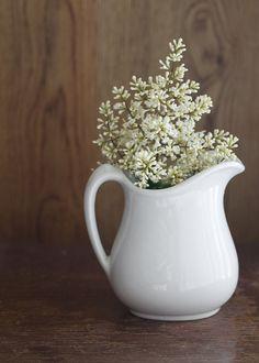 White Ceramic Pitcher Small Shabby Chic Cottage Decor. $23.00, via Etsy.
