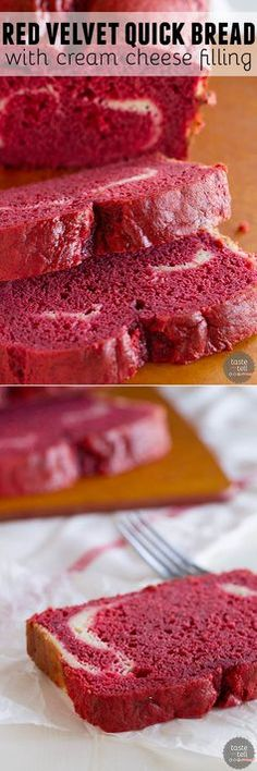 A tender and moist red velvet quick bread is filled with a cream cheese filling in this Red Velvet Quick Bread with Cream Cheese Filling.