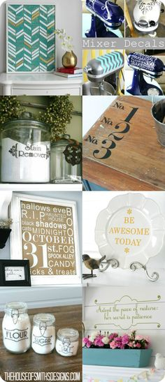 """Decorative Vinyl Decals - The House of Smiths Designs. 20% off with code """"20OFF20"""" till the end of the week! #vinyldecals #decoratingwithvinyl #jarlabels #mixerdecals #organizing #vinyldecor"""