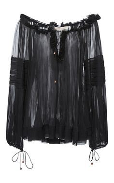 Liana V Neck Bell Sleeve Sheer Georgette Top by MARIA LUCIA HOHAN for Preorder on Moda Operandi