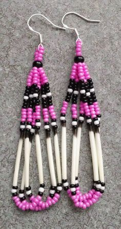 PINK BEADED PORCUPINE QUILL EARRINGS