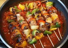 Schaschlikspieße mit Barbecuesoße