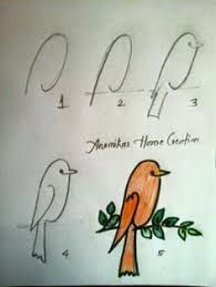 Step by Step drawing tutorials and drawing lessons for kids of all ages. Art Drawings For Kids, Bird Drawings, Doodle Drawings, Drawing For Kids, Animal Drawings, Easy Drawings, Doodle Art, Art For Kids, Bird Doodle