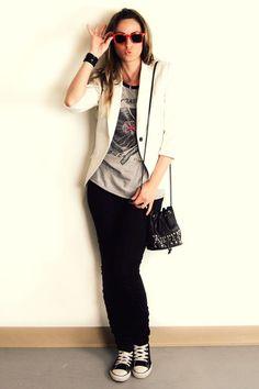 white Zara blazer - gray Forever 21 top - black H&M pants - black Converse shoes