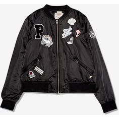 BLACK BOMBER JACKET WITH PATCHES ($62) ❤ liked on Polyvore featuring outerwear, jackets, bomber style jacket, bomber jacket, flight jacket, patch jacket and blouson jacket