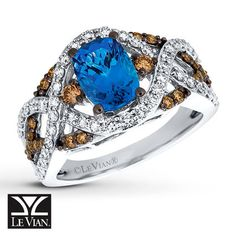 Le Vian® Blueberry Tanzanite® Ring sweetly accented with Chocolate Diamonds® and Vanilla Diamonds® in 14K Vanilla Gold®