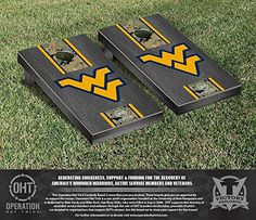 Operation Hat Trick West Virginia WVU Mountaineers Cornhole Game Set Onyx Stained Stripe Version * You can get additional details at the image link.