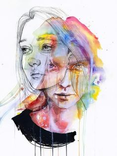 Agnes Cecile is the self taught artist behind this wonderful collection of watercolor portrait paintings. As well as watercolor she also uses acrylic, pen, ink and some Ap Studio Art, Art Watercolor, Watercolor Portraits, Studios D'art, Agnes Cecile, L'art Du Portrait, Self Portrait Drawing, Portrait Ideas, A Level Art