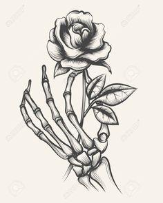 Skeleton hands with rose flower vector image on VectorStock Dark Art Drawings, Tattoo Design Drawings, Pencil Art Drawings, Art Drawings Sketches, Tattoo Sketches, Cool Rose Drawings, Dark Roses Tattoo, Skull Rose Tattoos, Body Art Tattoos