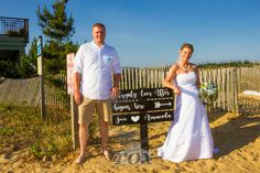 Creative Wedding sign on the Ocean City Maryland beach: https://www.roxbeachweddings.com/