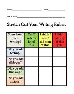 Writer's Workshop Small Moments Stretch Out Your Writing Rubric