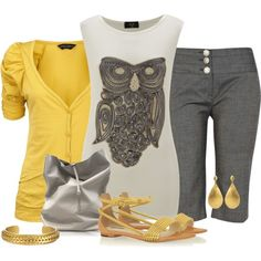 Owl print top/ gold sandal, created by mommygerloff on Polyvore