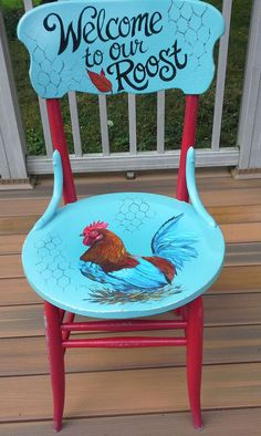 hand painted rooster chair by cherylschwierdesign
