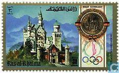 Neuschwanstein dans les timbres-postes de l'Emirat Ras al-Kaihmah رأس الخيمة Neuschwanstein Castle, Ludwig, Time Of The Year, Most Romantic, Bavaria, Munich, Alps, Germany, World