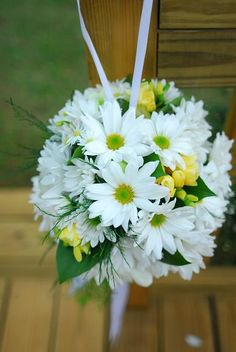 End of aisle Pomanders of white daisies, yellow freesia, tree fern, and lemon leaf. Reception Decorations, Flower Decorations, Fall Wedding, Wedding Ideas, Wedding Cake, Tree Fern, Bohemian Wedding Inspiration, Florist Supplies, Cascade Bouquet