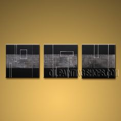 Handmade Artcrafts Triptych Modern Abstract Painting Wall Art Inner Framed. In Stock $145 from OilPaintingShops.com @Bo Yi Gallery/ ops9130