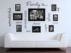 Family words family photo wall vinyl wall decals.